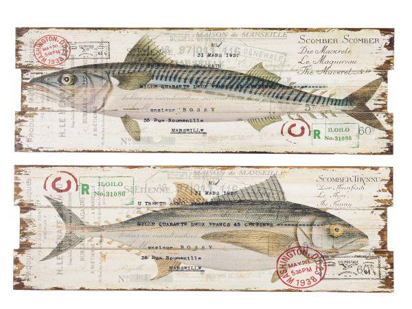 2x Bild Wandtafel Tafel Fishing Holzbild Wandbild Fische Angler angeln fish