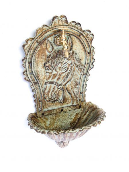 waschbecken wandbrunnen garten eisen nostalgie antik stil pferd brunnen gr n aubaho. Black Bedroom Furniture Sets. Home Design Ideas