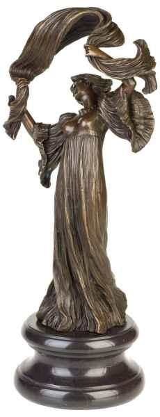 Bronzeskulptur Tänzerin Schal im Antik-Stil Bronze Figur Statue 44cm