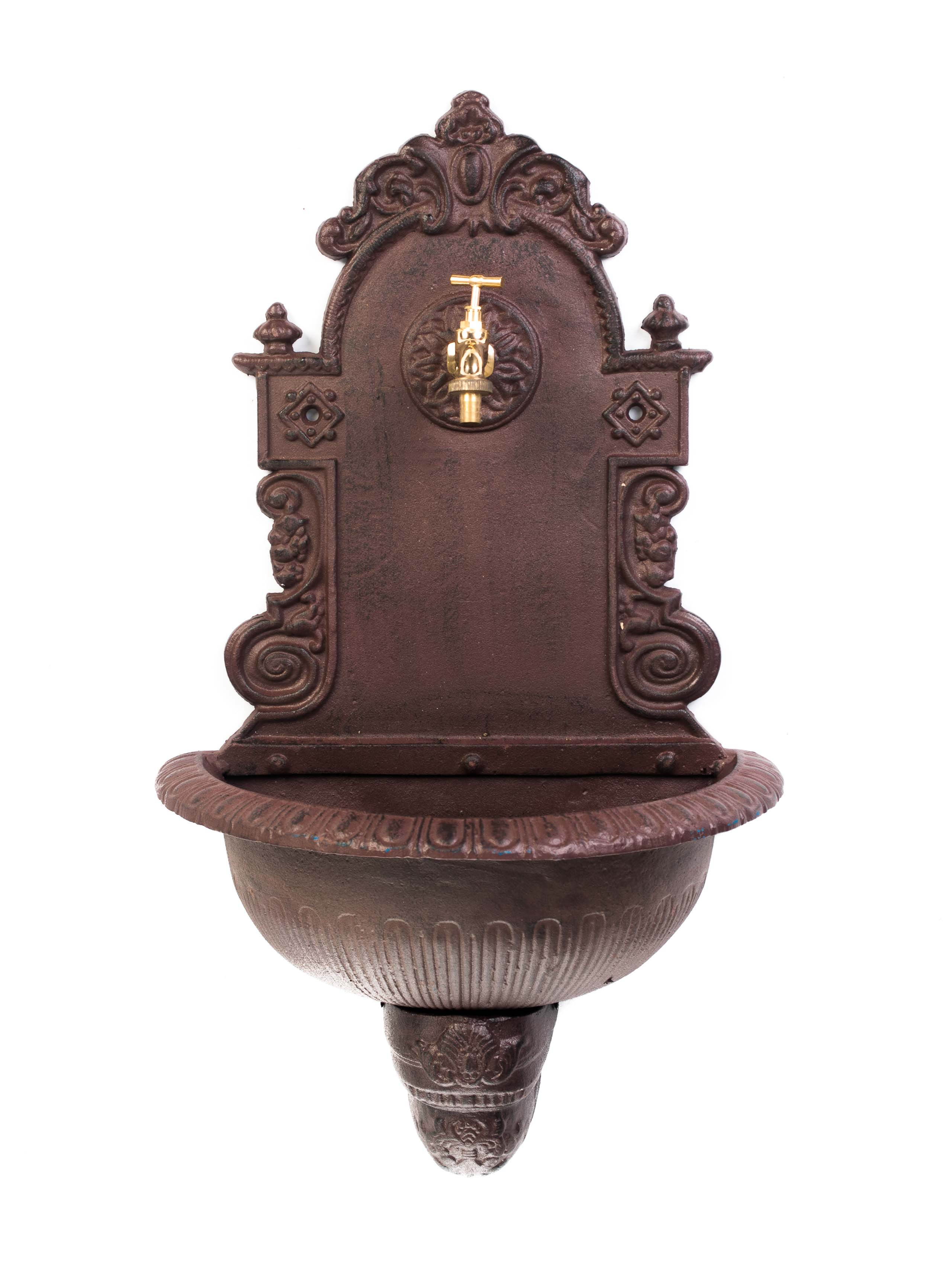 Standbrunnen 85cm Alu braun Brunnen Waschbecken Garten im antik Stil fountain