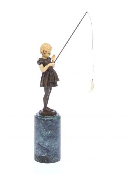 Bronze Skulptur nach Ferdinand Preiss Mädchen mit Angel angeln art deco style