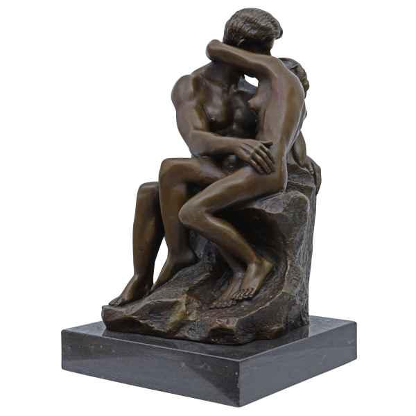 Bronzeskulptur Antik-Stil Bronze Figur nach Rodin der Kuss Replik Kopie 37cm