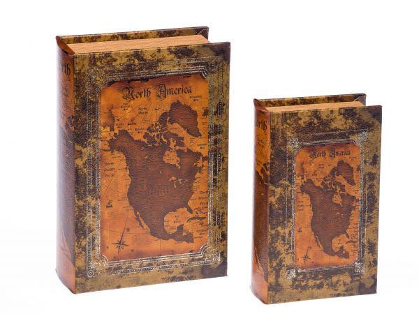 2x Schatulle Box in Buchform Geschenk Schmuck Buch Landkarte Nord Amerika book