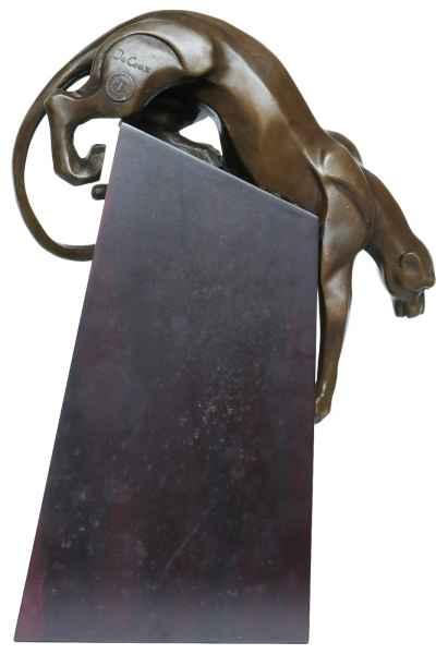 Bronzeskulptur Panter Raubkatze Holz Tier Bronze Figur Statue im Antik-Stil 34cm