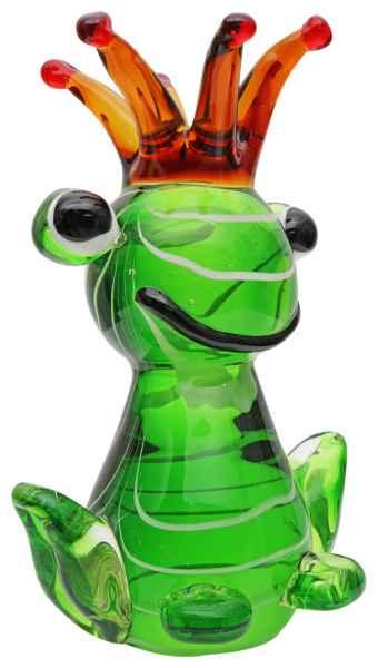 Glasfigur Frosch Froschkönig Glas Figur im Murano Antik-Stil Skulptur 19cm