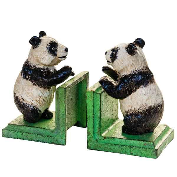 2 Buchstützen Buchständer Panda Pandabär Figur Skulptur Eisen Antik-Stil 14cm