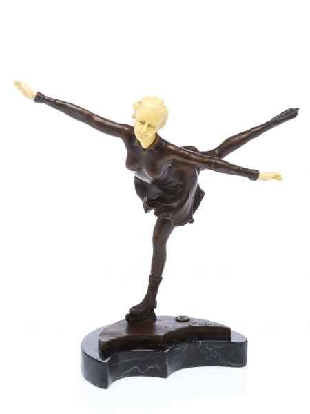 Bronze Skulptur nach Ferdinand Preiss Eiskunstlauf Schlittschuhe artdeco Style