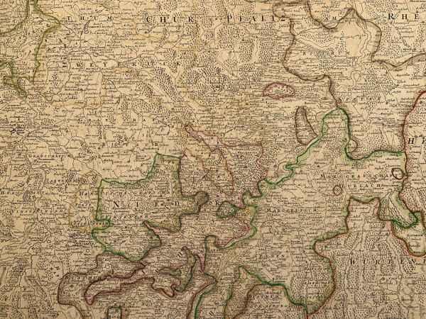 Antieke kaart Cursus Rheni a Basilea Usque Ad Bonnam III Homann Kudde