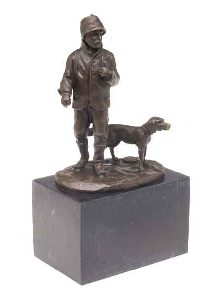 Bronzeskulptur Jäger Jagdhund Bronze Jagd Hund Skulptur Antik-Stil hunter