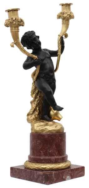 Kerzenständer Bronzeskulptur im Antik-Stil Mann Bronze Figur Statue - 50cm