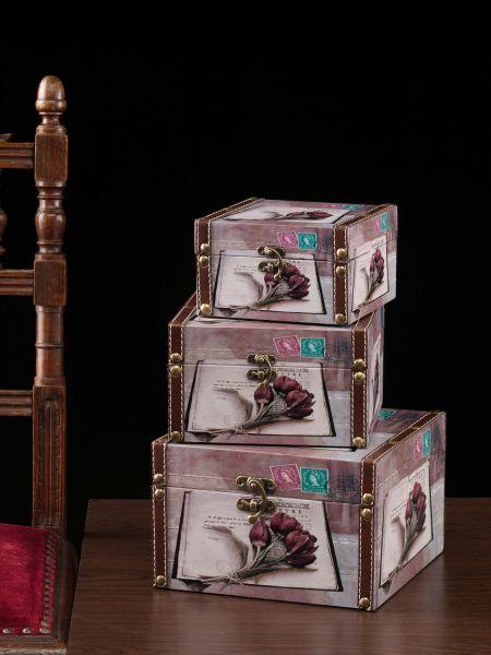 3x Boxen Holzboxen Holz Aufbewahrungsbox antik Stil Schatzkiste Truhen Blumen