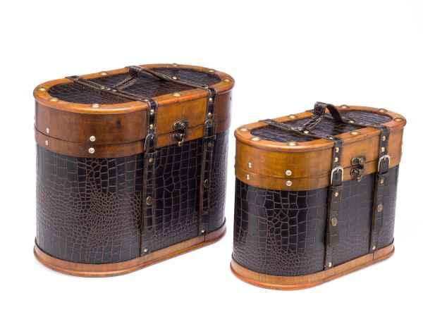 2x Beautycase Koffer Box Kiste antik Stil Holz Kosmetikbox Truhe Schatzkiste
