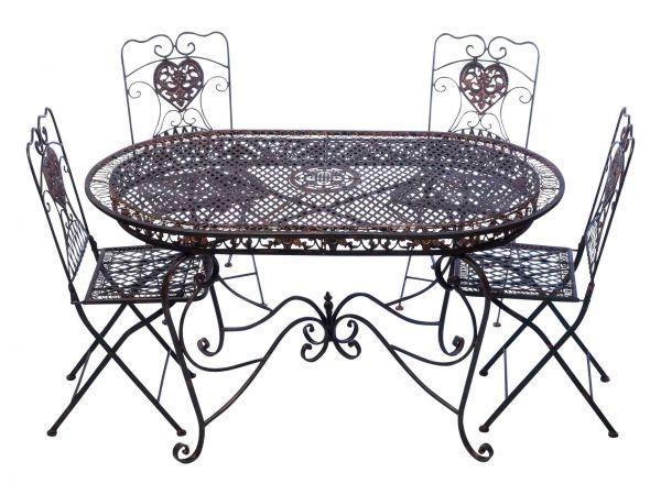 Set Tavolo Da Giardino 4 Sedie Da Giardino In Ferro Marrone Sedia Mobili In Stile Antico Nostalgia Aubaho