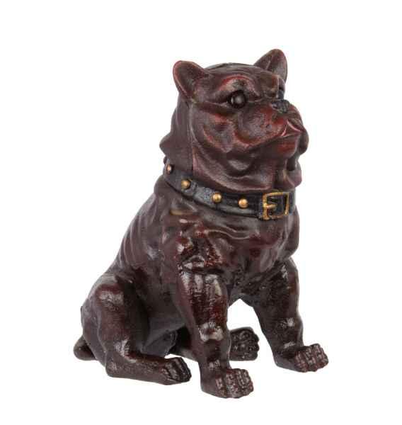 Eisenfigur Bulldogge Hund Figur Skulptur Eisen Antik-Stil 23cm