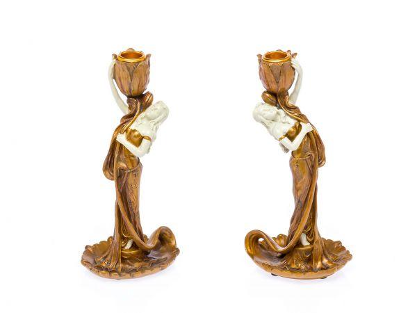 2 Kerzenleuchter Kerzenständer aus Kunststein im Jugendstil Design Kandelaber