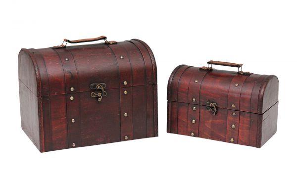 2 Truhen Box Schatztruhe Beautycase Koffer Truhe Holz Nostalgie antik Stil