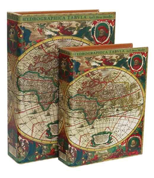 2x Box Zahlmappe Buchattrappe Weltkarte Schmucketui Buchsafe Henricus Hondius