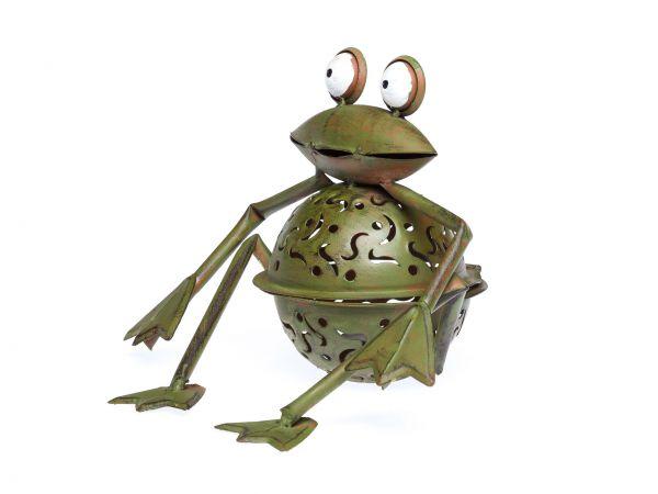 Windlicht Frosch 23cm Teelichthalter Garten garden tealight holder froog