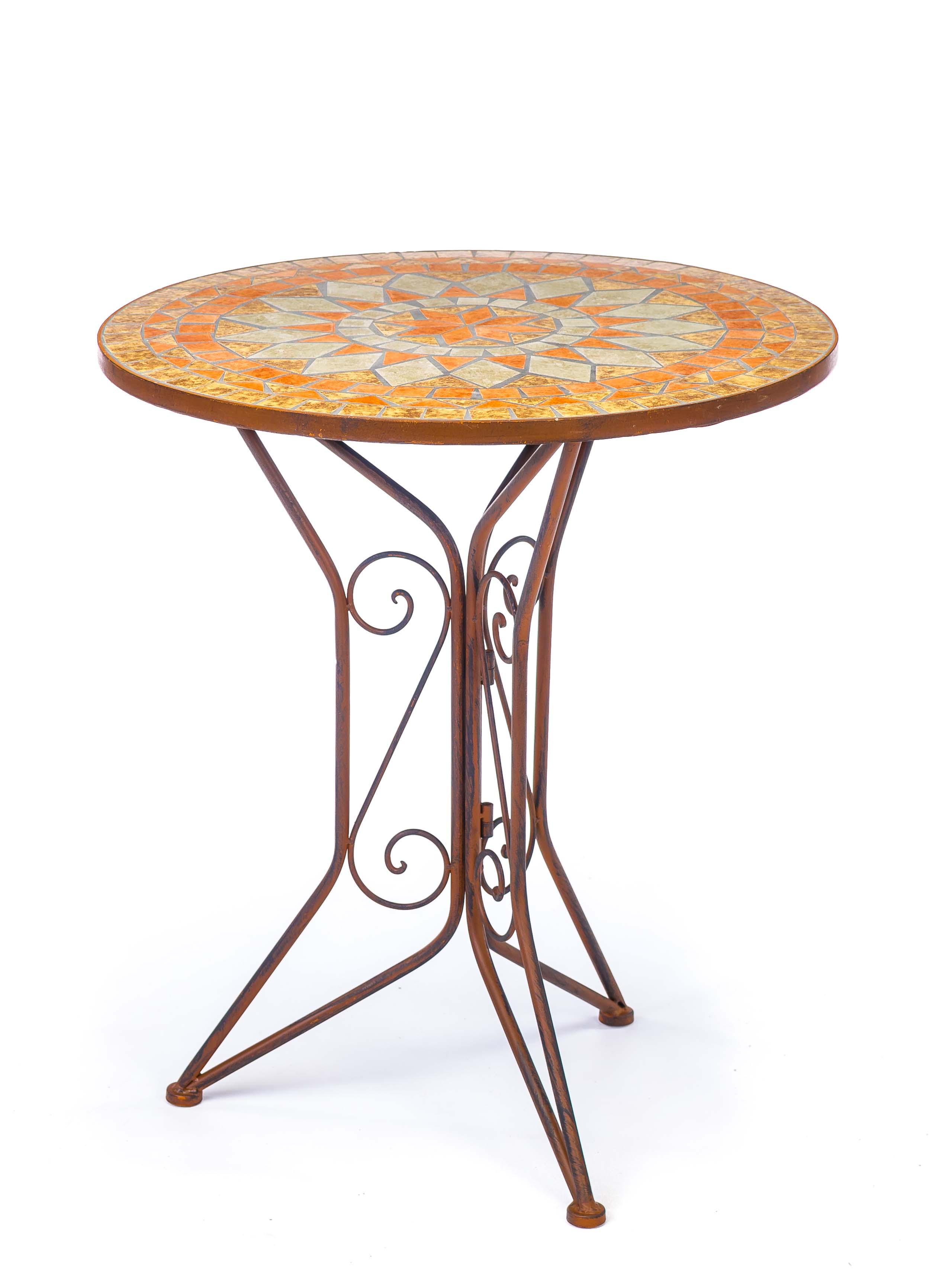 Garnitur Gartentisch 2 Stühle Eisen Fliesen Mosaik Garten Tisch