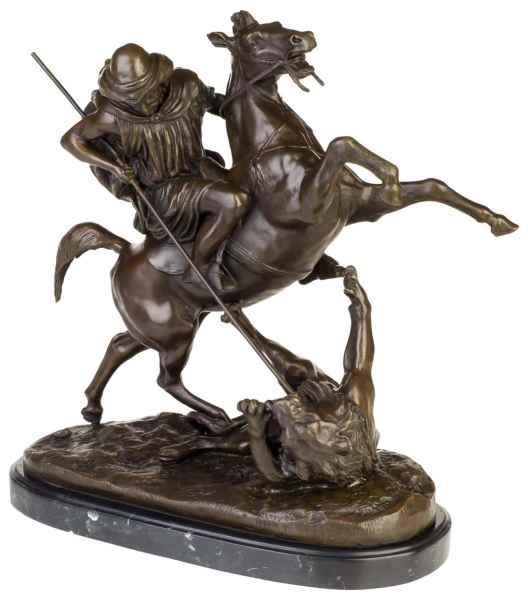 Bronzeskulptur Araber Reiter Löwe im Antik-Stil Bronze Figur Statue 41cm