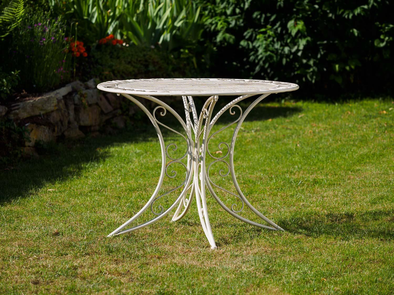 Nostalgie Tisch Gartentisch Bistrotisch Eisen Antik Stil 100cm Weiss