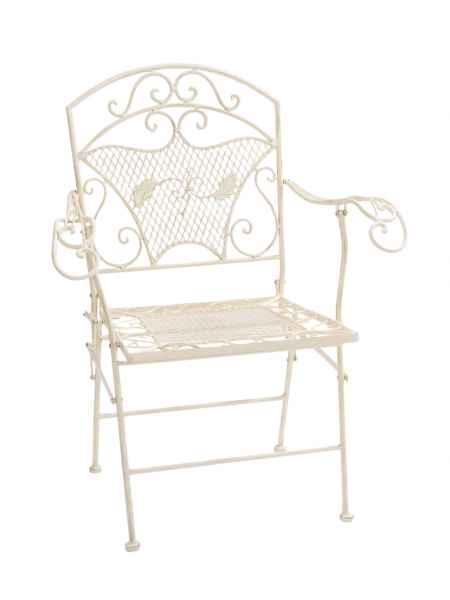 Nostalgie Gartensessel Stuhl Sessel Metall Klappstuhl antik Stil creme weiss
