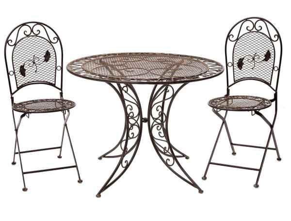 Salon de jardin - 1 table et 2 chaises - fer - style antique - marron
