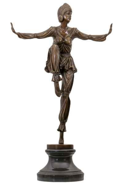 Bronzeskulptur Tänzerin Frau Bronze Figur Statue im Antik-Stil - 75cm