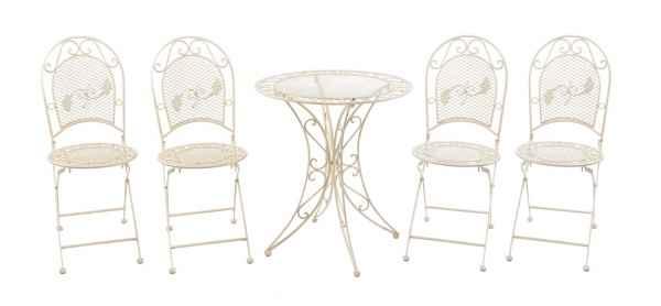 Juego de muebles de jardín mesa y 4 sillas de hierro muebles de jardín