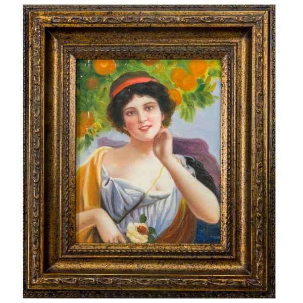 Original Gemälde Frau Blume Orangen Ölgemälde mit Rahmen Ölbild Antik-Stil 38cm