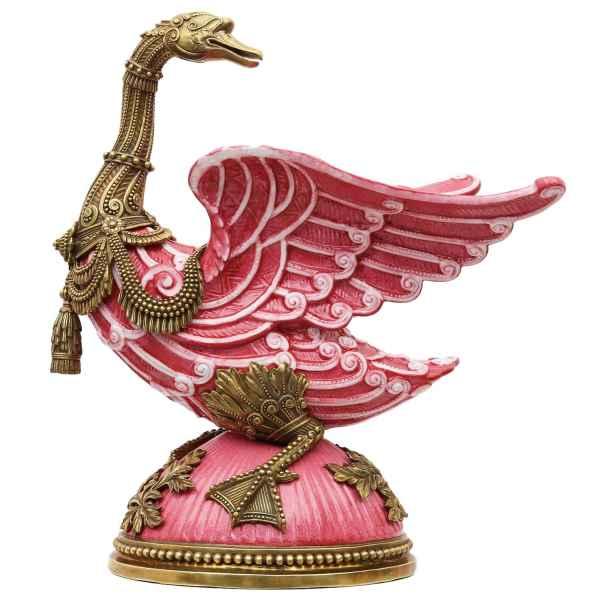 Porzellanfigur Messing Gans Vogel Porzellan Skulptur Antik-Stil - 37cm (b)