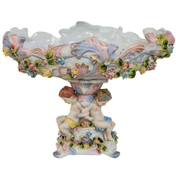 Schale Prunkschale Pflanzschale Engel Blume Porzellan Antik-Stil 35cm