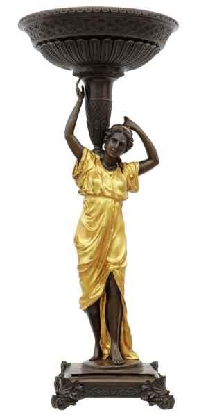 Schale Pflanzschale Frau Bronze Figur Statue Bronzefigur im Antik-Stil 76cm