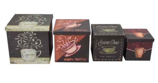 4x Box Holz Truhe Kiste Cafe Cappucino Latte Boxenset Truhenset Holzbox