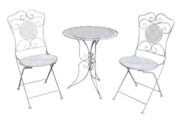 Gartenset Tisch und 2 Stühle Eisen Antik-Stil Gartenmöbel Bistroset weiss