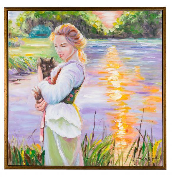 Original Gemälde Ölgemälde Mädchen mit Katze mit Rahmen modern 84cm