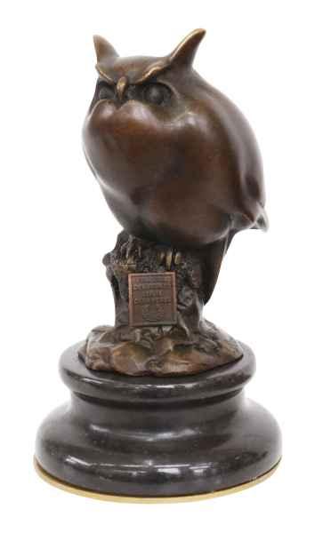 Bronzeskulptur Eule 13cm Bronze Figur Statue Bronzefigur im Antik-Stil