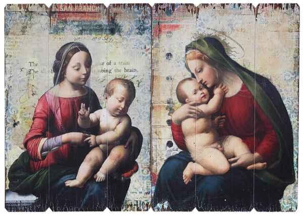 2x Ikone Bild Maria mit Jesus Kind Holz Holztafel Druck Kirche Antik-Stil