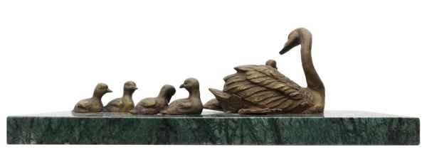 Bronzeskulptur Schwan Küken im Antik-Stil Bronze Figur Statue 30cm