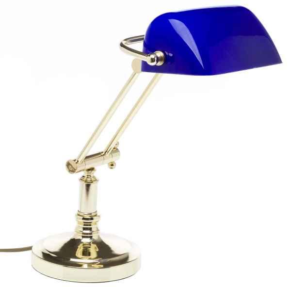 Bankerslamp Tischlampe bankers lamp Messing Schreibtischlampe blau
