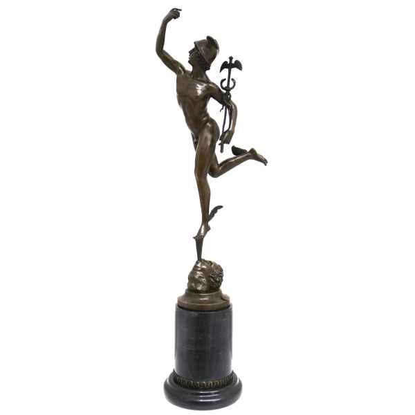 Bronzeskulptur Skulptur Hermes Merkur nach Giambologna Figur Antik-Stil Replik