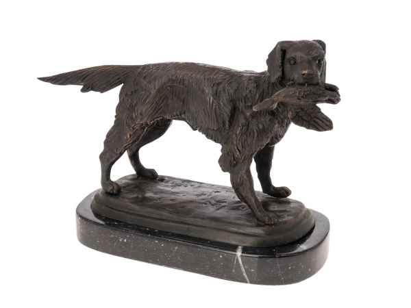 Bronze Skulptur Jagd Hund Figur Jagdhund mit Beute Bronzeskulptur Antik-Stil