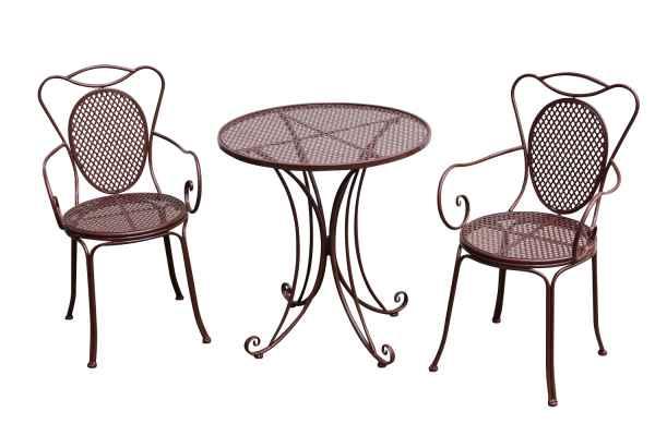 gartenset bistroset metall antik stil gartenm bel garnitur garten bistro braun aubaho. Black Bedroom Furniture Sets. Home Design Ideas