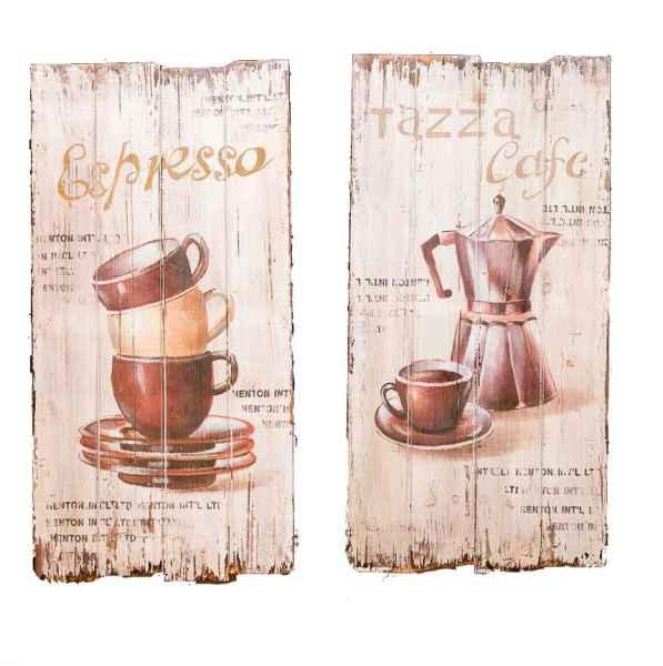 Lot de 2 oeuvres sur bois - motif « espresso »/« cafe » style antique 80 x 40 cm