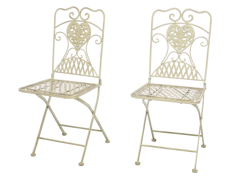 gartentisch und 2 st hle bistrotisch eisen garten antik stil gartenm bel weiss aubaho. Black Bedroom Furniture Sets. Home Design Ideas