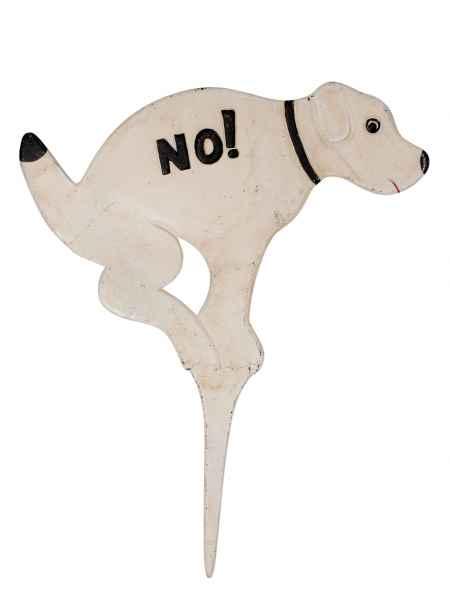 Hunde Verbotsschild 50cm Eisen Hund No Dog Garten Erdspieß Bodenstecker garden