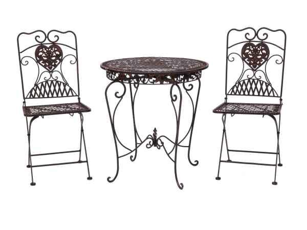 gartentisch 2x stuhl eisen antik stil bistrom bel gartenm bel braun aubaho. Black Bedroom Furniture Sets. Home Design Ideas