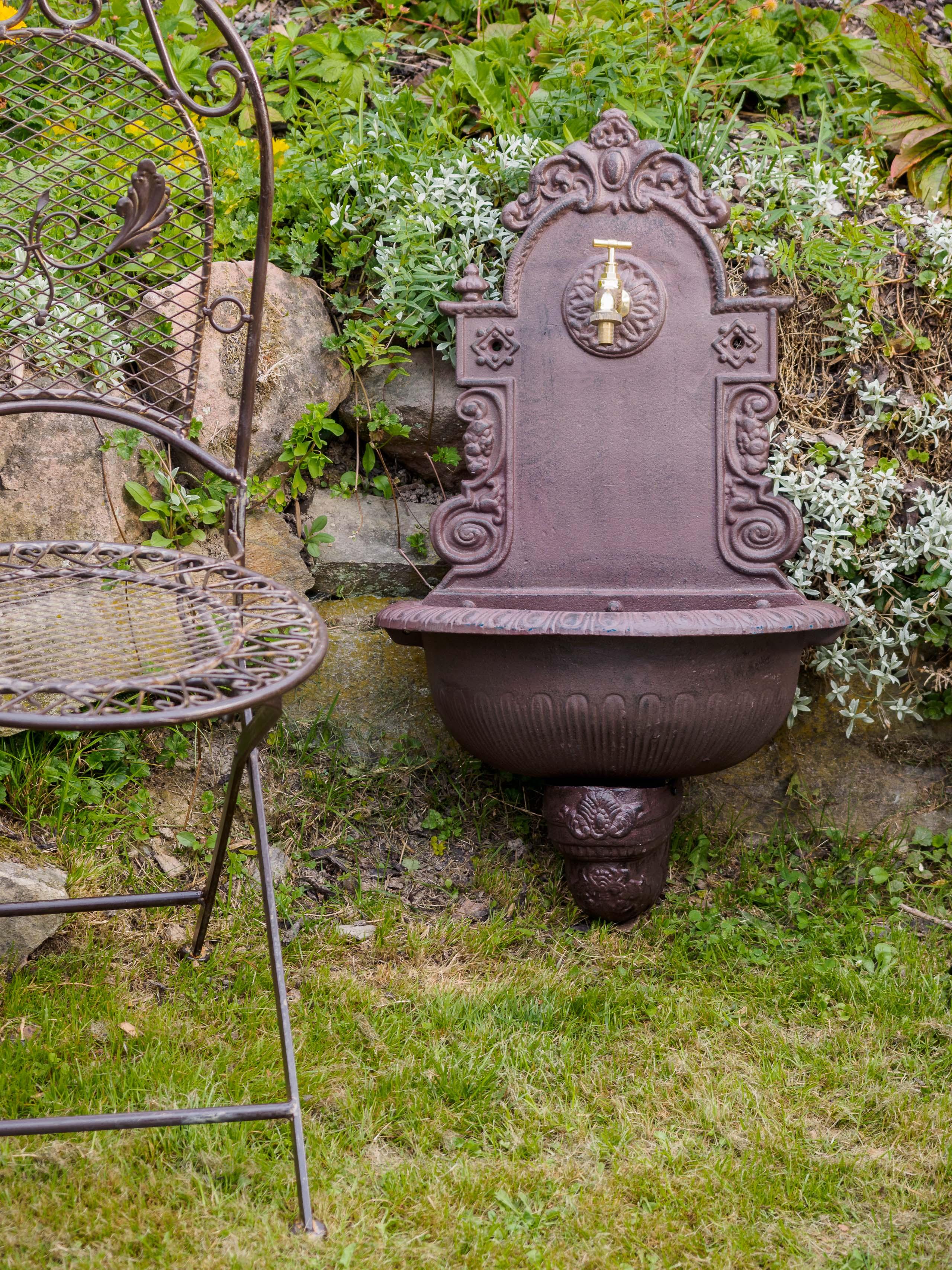 Waschbecken Wandbrunnen Garten Eisen Gründerzeit Antik Stil Brunnen