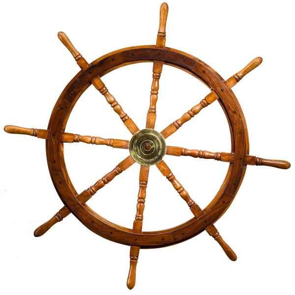 Steuerrad 105cm Holz Messing Schiff Schiffsrad Schiffssteuerrad Schiffe Boot