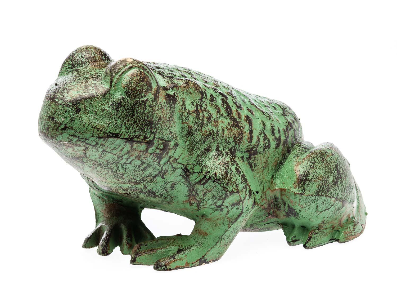 Figur skulptur frosch 28cm eisen gr n 6kg gartenfigur for Frosch figur garten